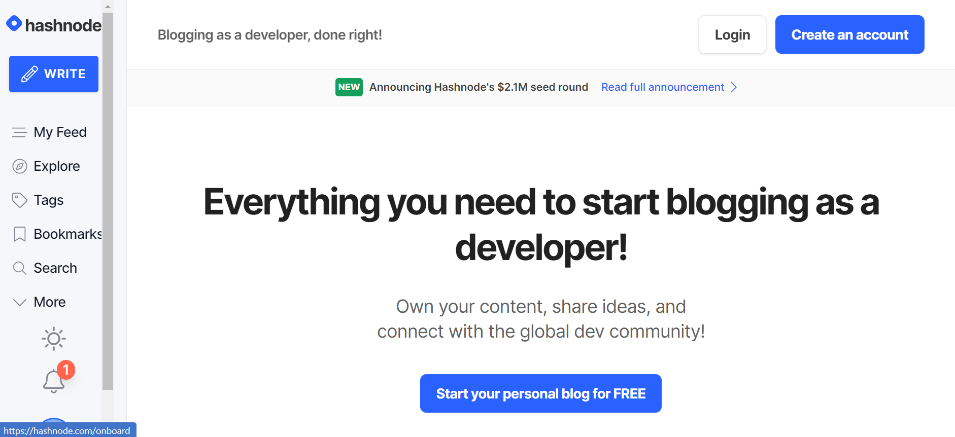 Start your Blogging with Hashnode