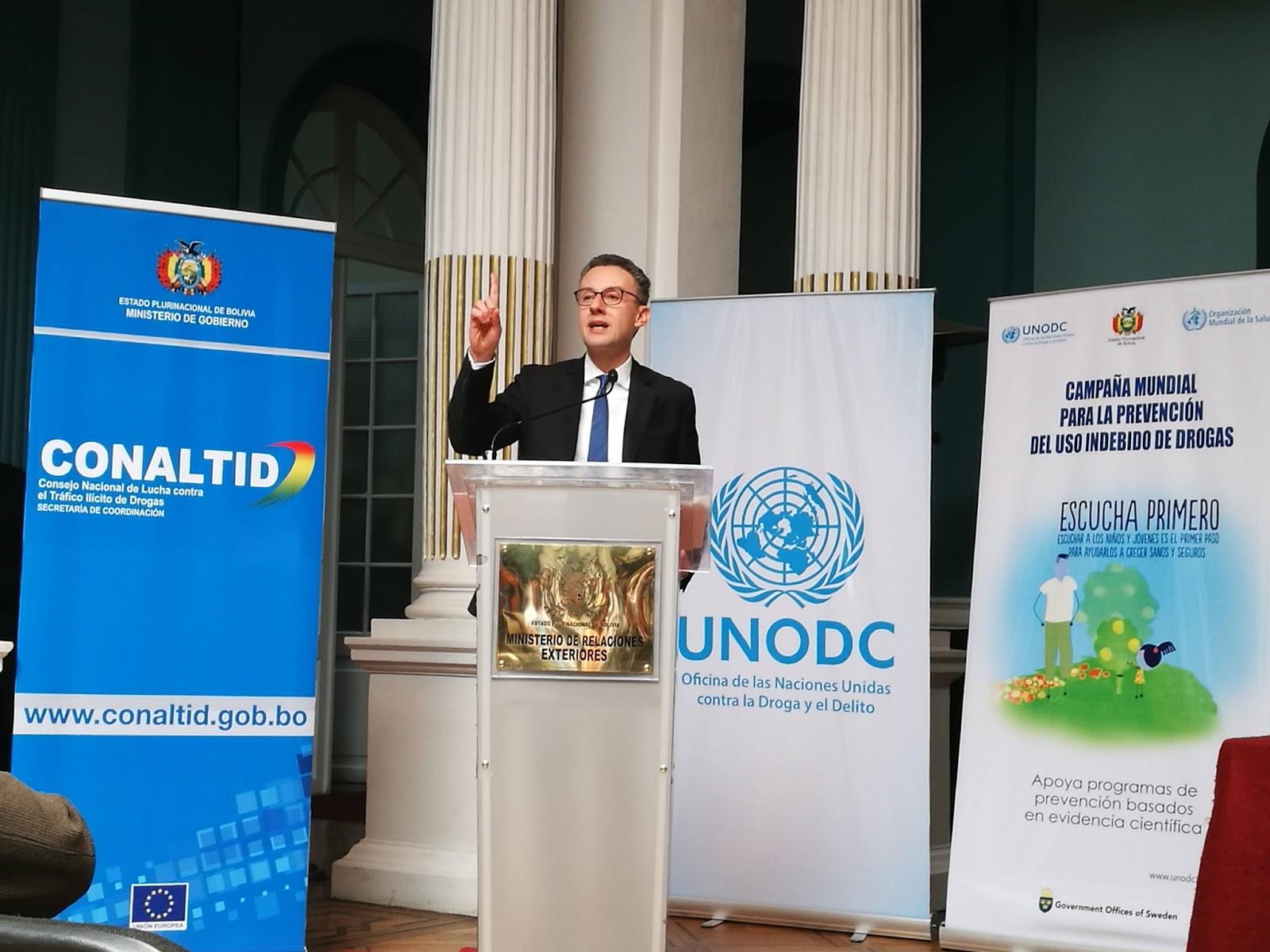 De Leo en la presentación del convenio con Conaltid y Ministerio de Gobierno