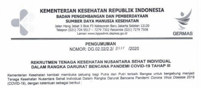 Rekrutmen Nusantara Sehat Terbuka 1 Hingga 5 April 2020