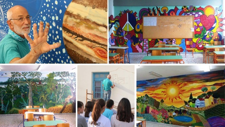 Ο Γιάννης Κανίογλου με τα πινέλα του μεταμορφώνει σχολεία στην Καβάλα