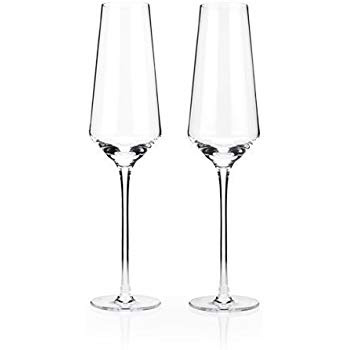Champagne flutes will keep the bubbles tickling your nose