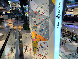 Rock wall at Climb Central Funan mall
