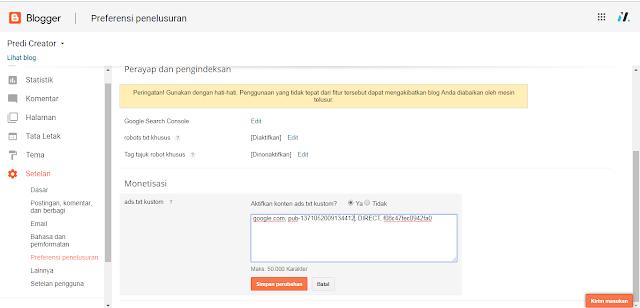 cara mengaktifkan File Ads TXT Google Adsense Pada Blogspot