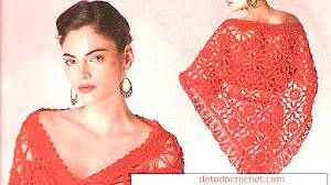 Chal glamoroso para tejer al crochet / Moldes y paso a paso