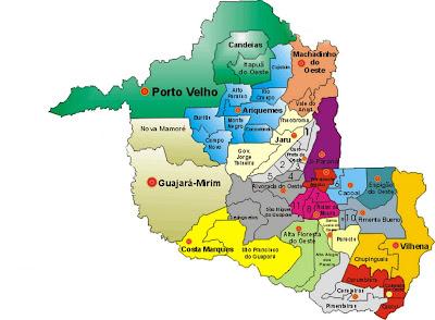 Resultado de imagem para mapas municipios divisão do estado de rondonia