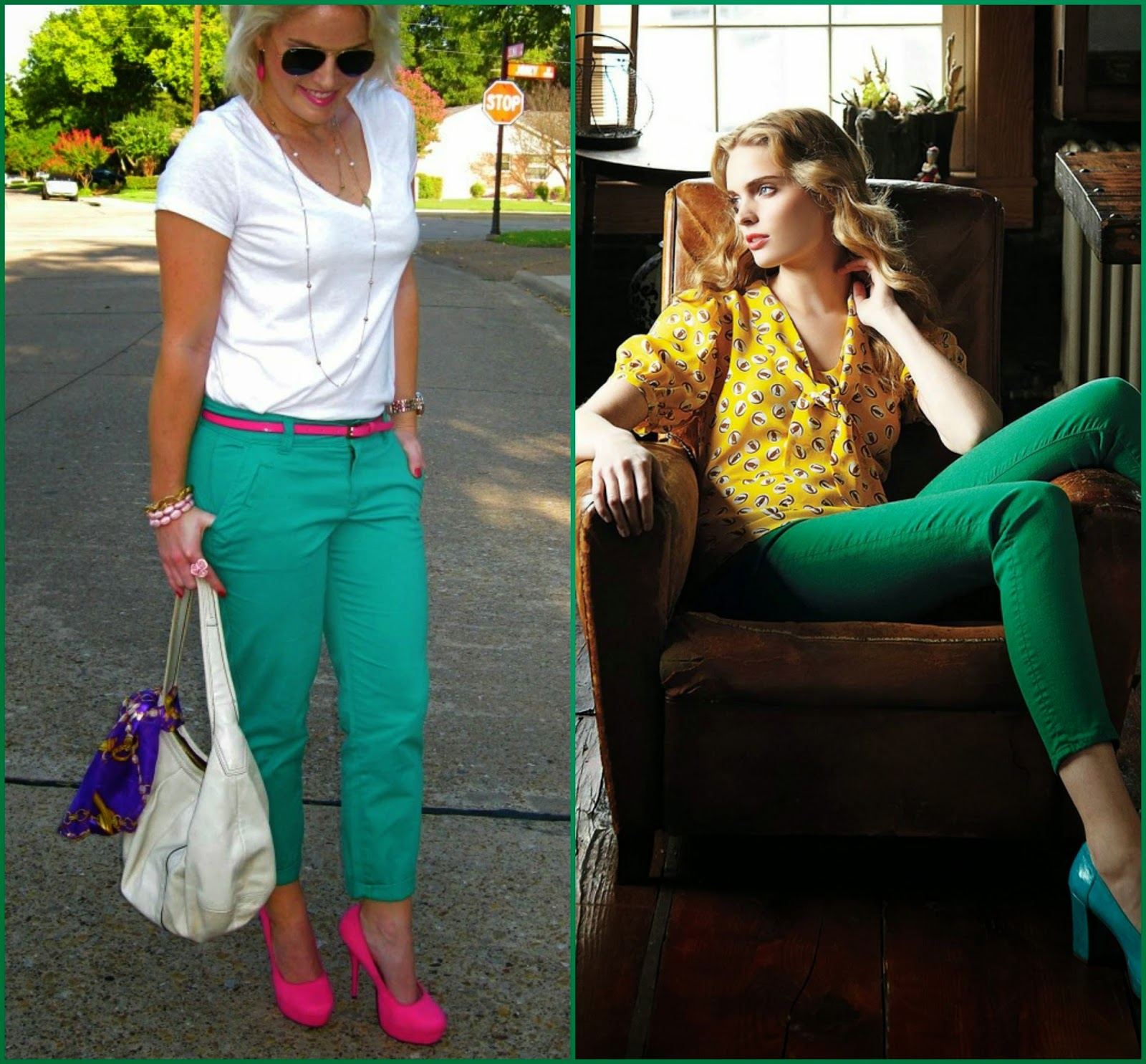 Greens pants colour blocking, how to wear green pants, colour blocking with green