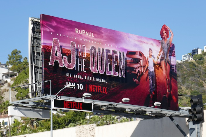 Glittering AJ and the Queen cut-out billboard