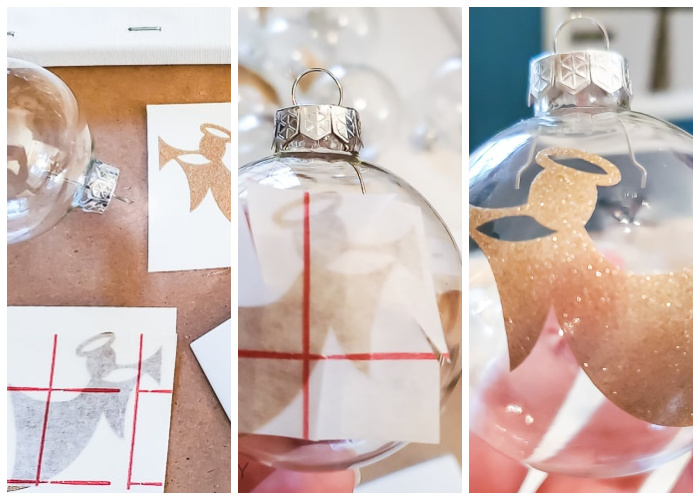 add glitter vinyl to ornaments