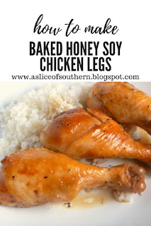 Baked Honey Soy Chicken Legs:  Tender, juicy chicken legs doused with a wonderful honey soy sauce served over a bed of fluffy rice.  What could be more comforting than that? Slice of Southern