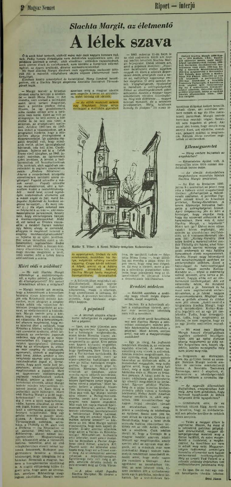 Elhunyt Slachta Margit életrajzírója, Mona Ilona