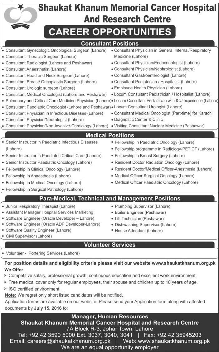 FCPS, Consultant & Resident Doctors Jobs in Shaukat Khanum Hospital Lahore & Peshawar