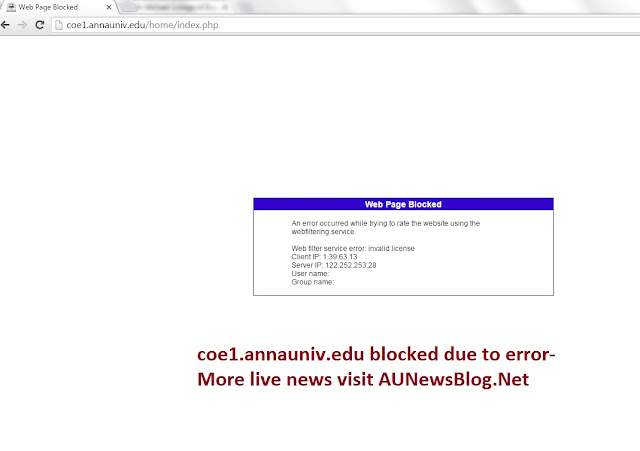 Coe1.annauniv,edu Website blocked. New error occurred in Anna University portal - aunewsblog