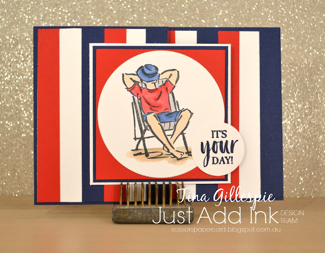 scissorspapercard, Stampin' Up!, Just Add Ink, A Good Man, Fancy Fold, Stampin' Blends