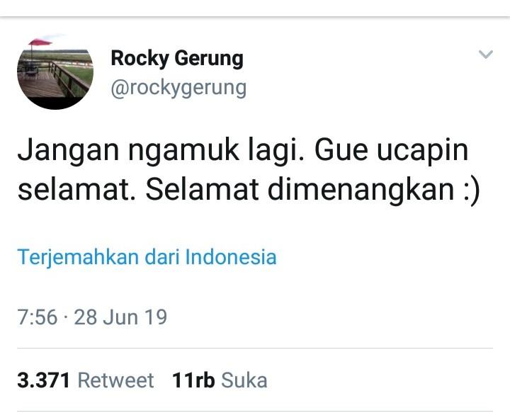 Ucapkan Selamat, Cuitan Rocky Gerung Bikin Kesal