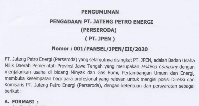 Lowongan Kerja BUMD - PT Jateng Petro Energi (Perseroda) - Deadline : 3 April 2020