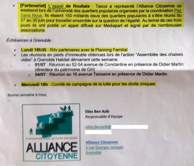 L'islamiste Taous Hammouti mandatée par Alliance citoyenne