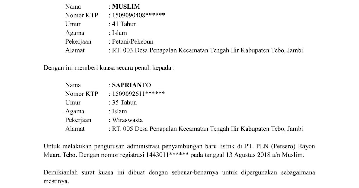 contoh surat orton contoh surat kuasa pengurusan