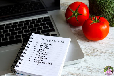 Photo of shopping list with computer and tomatoes.