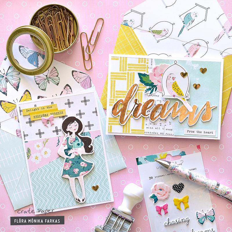 Cards with matching envelopes made with Crate Paper - Maggie Holmes Chasing Dream collection and We R Memory Keeper 1-2-3 Punch Board by @floramfarkas .