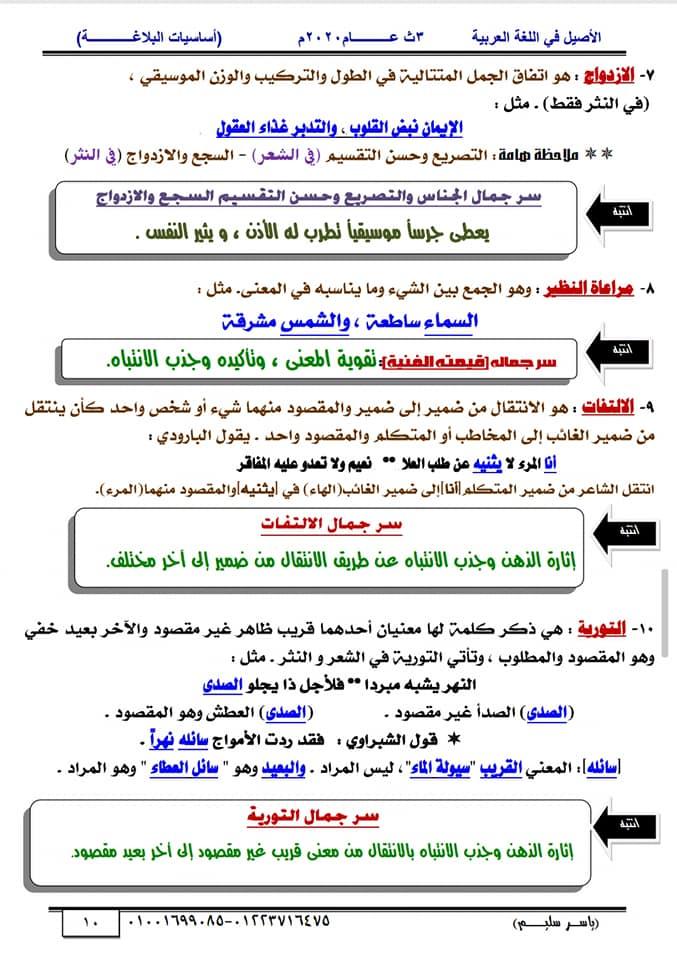 أساسيات البلاغة للثانوية العامة في١٥ورقة أ/ ياسر سليم 10