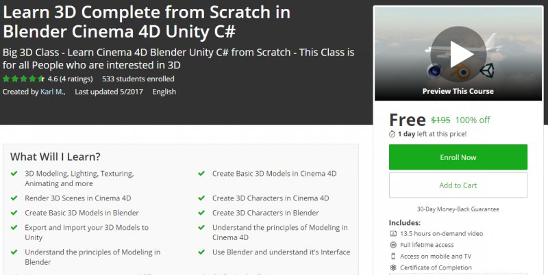 100% Off] Learn 3D Complete from Scratch in Blender Cinema