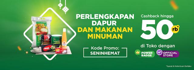 #Tokopedia - #Promo Cashback Hingga 50% Perlengkapan Dapur & Makanan Minuman (s.d 24 Juni 2019)