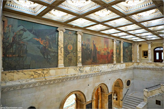 Pinturas de Robert Reid en el Nurses Hall del Massachusetts State House, Boston