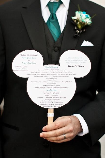 At Home Disney Wedding - Mickey Head Program Fan