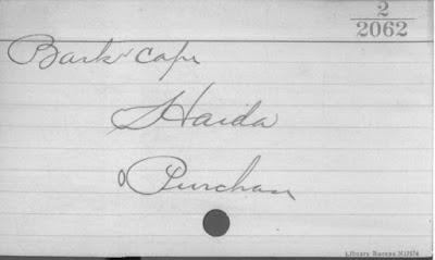 Typical Museum of the American Indian, Heye Foundation catalog card