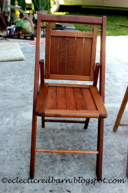 Eclectic Red Barn: Vintage wooden folding chair gets makeover