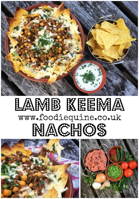 www.foodiequine.co.uk Spice up your mealtimes with Lamb Keema. Keema is pretty much the Indian version of Bolognaise. Instead of using beef mince in a tomato sauce it uses lamb mince and peas in a fragrant curry. Like bolognaise it is fantastically versatile and once you master it you have the base for a huge variety of dishes such as these Lamb Keema Nachos. Give me stringy melted pizza cheese, curried lamb and tortilla chips and I'm in heaven!