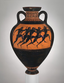 Early Greek red-figure and black-figure pottery. Terracotta Panathenaic prize amphora. 530 B.C. (Metropolitan Museum of Art)