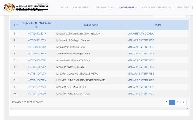 Semakan status pendaftaran produkMYLARA skincare di Kementerian Kesihatan Malaysia