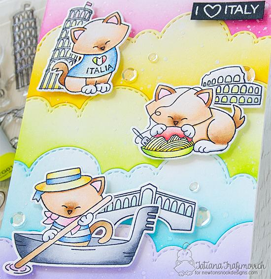 I Love Italy Card by Tatiana Trafimovich | Newton Dreams of Italy Stamp Set and Sky Borders Die Set by Newton's Nook Designs #newtonsnook #handmade