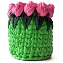 Cesto Tulipanes a Crochet