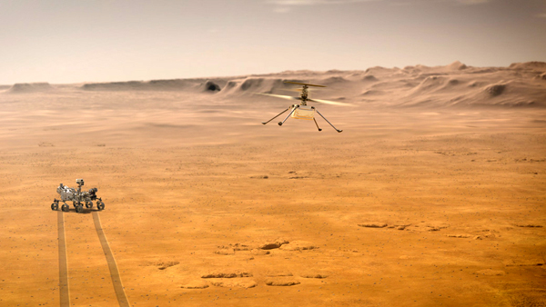 An illustration of the Ingenuity helicopter soaring in the Martian air while the Perseverance rover observes from the surface.