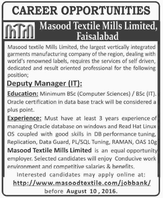 masood textile mills limited General manager, production manager, senior manager production, marketing  manager jobs in masood textile mills limited 14 aug 2017.