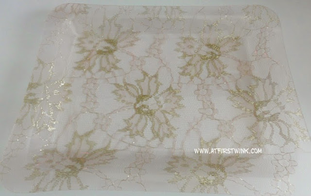 3Coins Japan plastic transparent tray with gold lace print