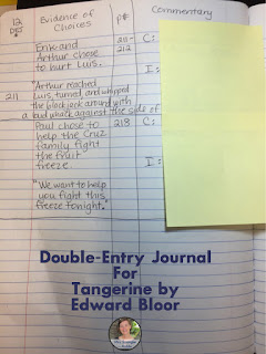 Double Entry Journals are one way to keep track of a novel AND they help students collect information for essays!  This is just one of four ways to track story elements for a #novelstudy.  #middleschool #teaching