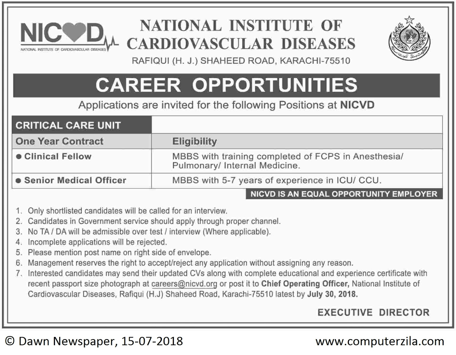 Career Opportunities at National Institute of Cardiovascular Diseases