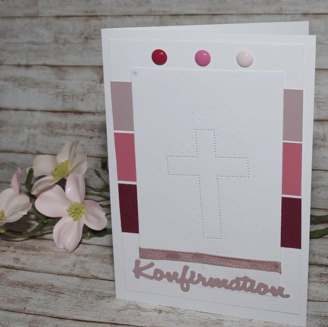 [DIY] Roséfarbene Konfirmationskarte  Grußkarte im Streifendesign