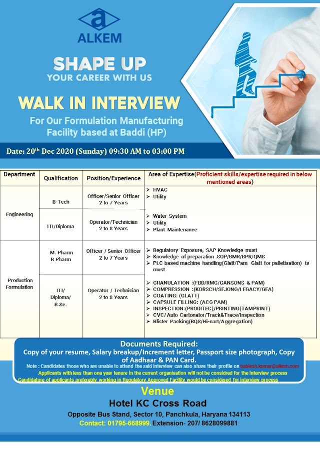 Alkem Labs | Walk-in interview for Engineering/Production on 20th Dec 2020