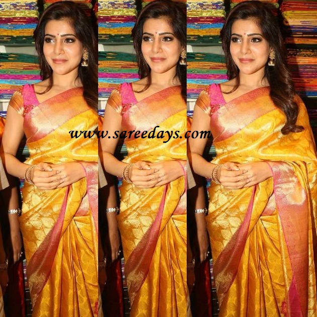 Latest saree designs samantha in mustard designer saree checkout south indian actress samantha in mustard silk designer saree with pink zari border and paired with matching mega sleeves designer blouse altavistaventures Images