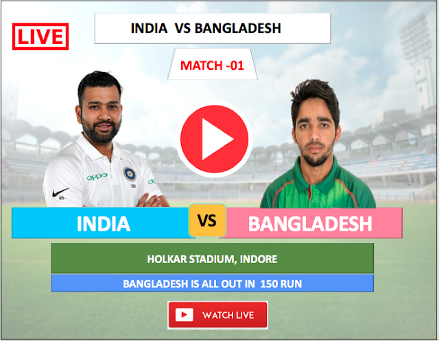 Watch Live Match India vs Bangladesh - 1st Test match , India is Bating, Bangladesh is all out at 150 runs