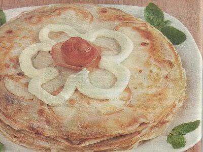 Состав продуктов и способ приготовления тонких блинчиков с яблочным припеком