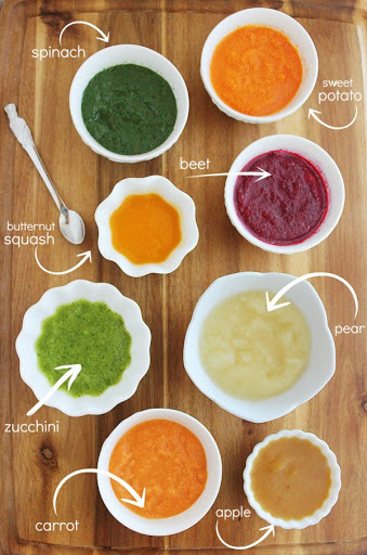 Variety of baby food
