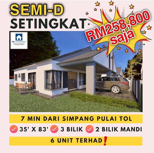 Rumah Semi-D 1 Tingkat Bawah Harga RM260K Di Simpang Pulai Perak