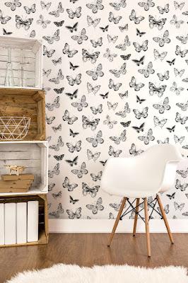 Papel Pintado Mariposas en Blanco y Negro ref. 955