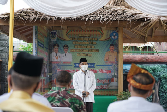 Resmikan Rumah Adat Melayu dan Pelatihan Tenun. Walikota Tebing Tinggi  : Jangan Lupakan Sejarah