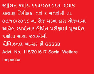 Social Welfare Inspector 115/2016-17 Provisional Answer Key